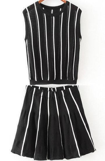Black Sleeveless Vertical Stripe Top With Skirt