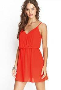 Orange Spaghetti Strap Slim Backless Dress
