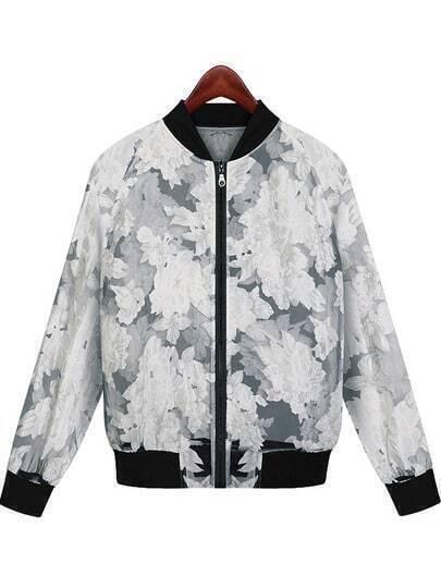 Black Long Sleeve Floral Sheer Organza Jacket