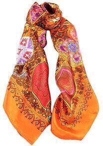 Orange Vintage Floral Scarves