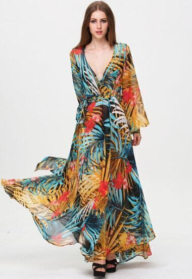 Multicolor V Neck Long Sleeve Floral Maxi Dress pictures