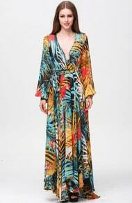 Multicolor V Neck Long Sleeve Floral Maxi Dress