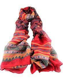 Red Vintage Geometric Print Scarves