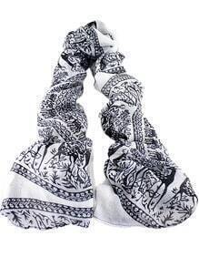 Black White Vintage Deer Print Scarves