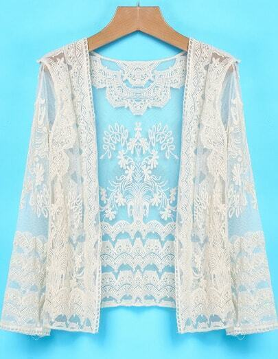 Apricot Long Sleeve Lace Sheer Mesh Yoke Outerwear