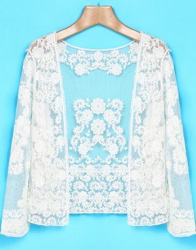 White Long Sleeve Lace Sheer Mesh Yoke Outerwear