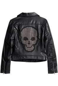 Black Lapel Long Sleeve Rivet Skull Crop Jacket