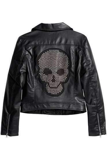 Black Lapel Long Sleeve Rivet Skull Crop Jacket