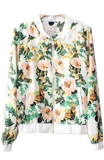 White Long Sleeve Morning Glory Print Jacket