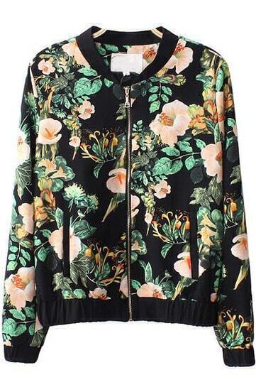 Black Long Sleeve Morning Glory Print Jacket