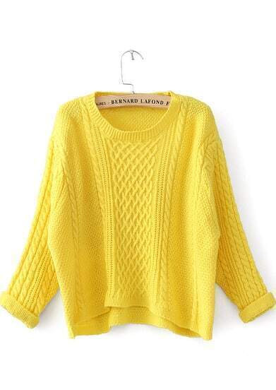 Yellow Long Sleeve Cable Knit Crop Sweater