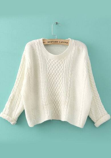 White Long Sleeve Cable Knit Crop Sweater