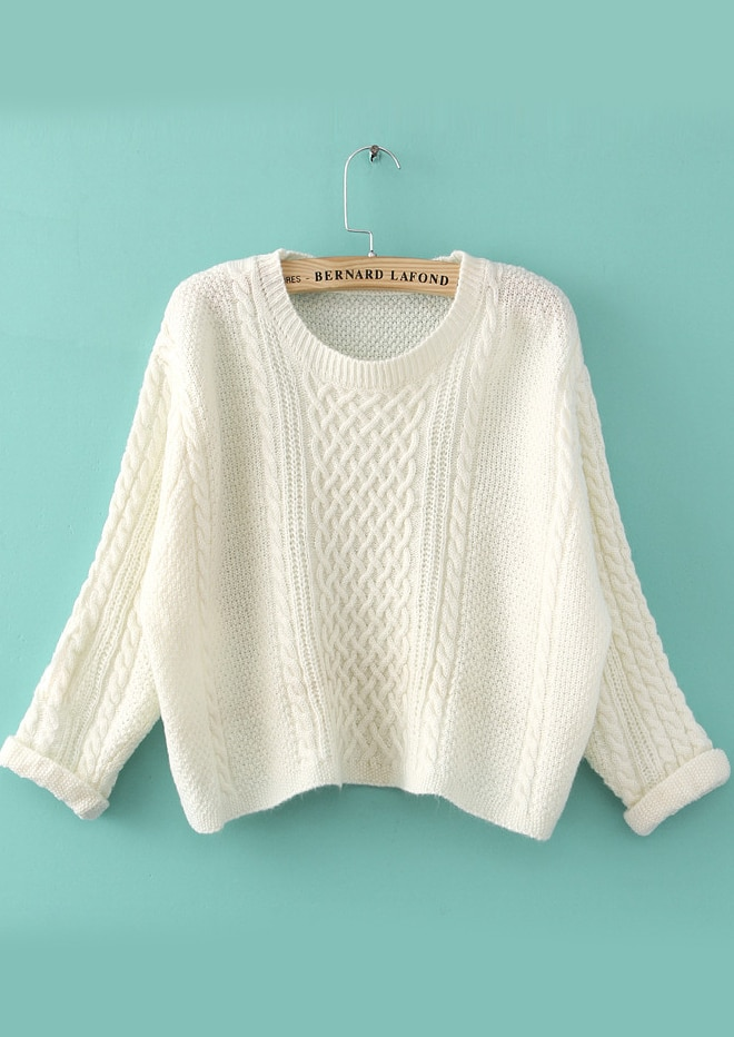 White Long Sleeve Cable Knit Crop Sweater -SheIn(Sheinside)