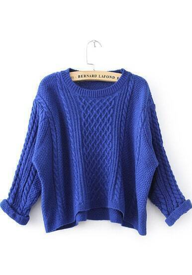 Blue Long Sleeve Cable Knit Crop Sweater