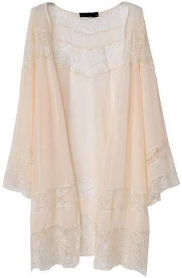 Apricot Long Sleeve Lace Chiffon Loose Kimono