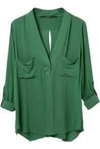 Green V Neck Long Sleeve Pockets Blouse