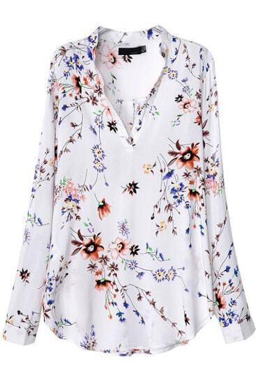White V Neck Long Sleeve Floral Blouse