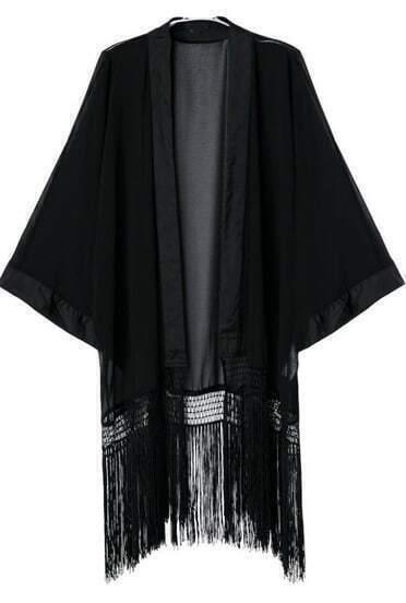 Black Long Sleeve Tassel Chiffon Kimono