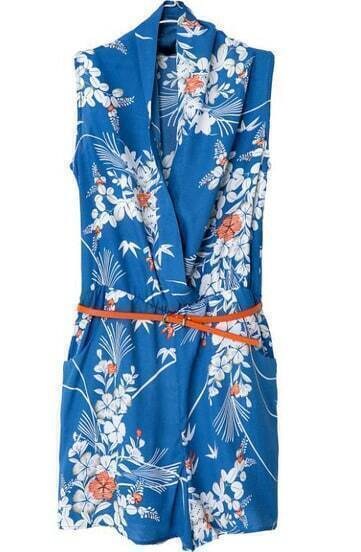 Blue V Neck Sleeveless Slim Floral Jumpsuit
