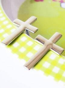 Fashion White Cross Earrings