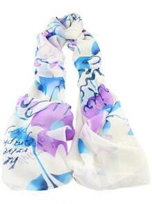 White Blue Floral Letters Print Scarves