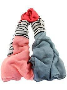 Red Grey Contrast Striped Scarves