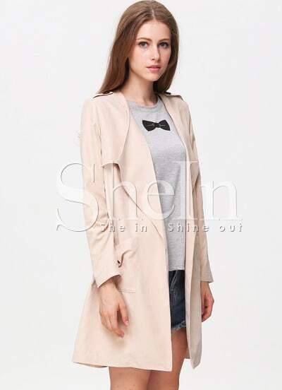 Apricot Long Sleeve Epaulet Pockets Trench Coat