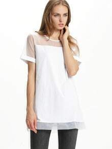 White Contrast Sheer Mesh Yoke Shift Dress