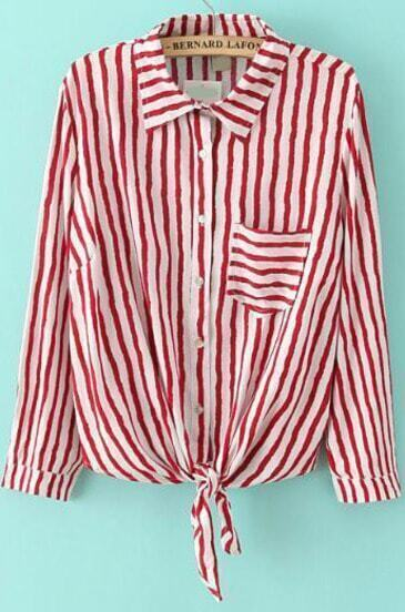 Red Lapel Long Sleeve Vertical Stripe Pocket Blouse