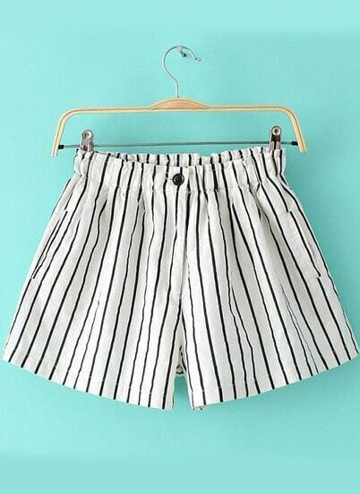 White Elastic Waist Vertical Stripe Shorts