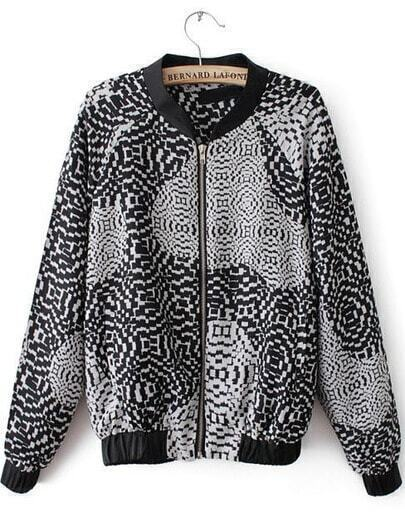 Black Long Sleeve Geometric Print Jacket