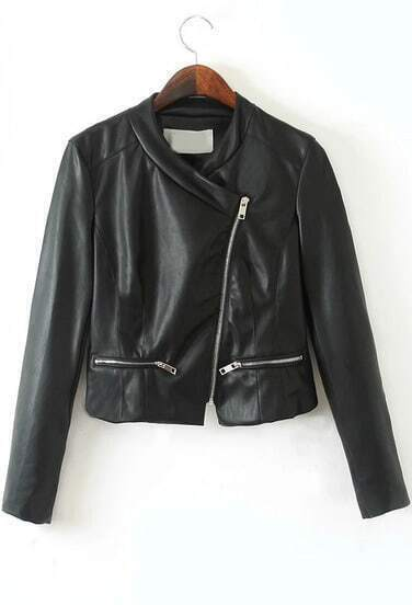 Black Long Sleeve Zipper Crop PU Leather Jacket
