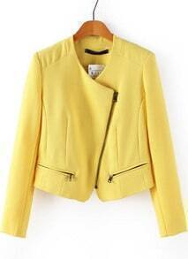 Yellow Long Sleeve Oblique Zipper Crop Jacket
