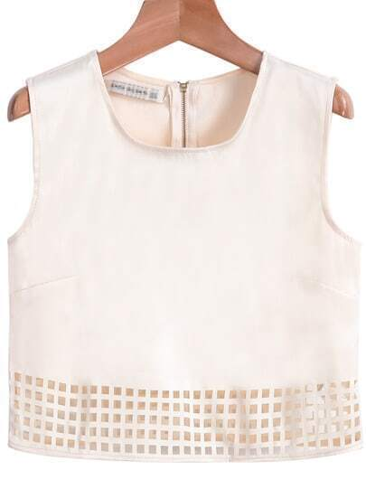 Apricot Sleeveless Zipper Hollow Vest