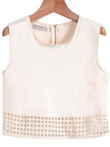 Apricot Sleeveless Zipper Hollow Vest