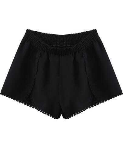 Black Elastic Waist Floral Crochet Trims Shorts