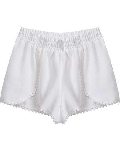 White Elastic Waist Floral Crochet Trims Shorts