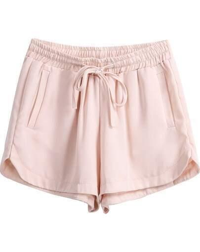 Apricot Elastic Drawstring Waist Straight Shorts