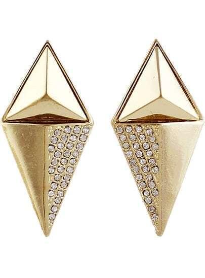 Gold Diamond Conical Earrings