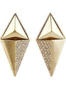 Gold Diamond Conical Earrings