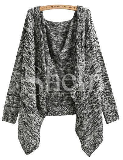 Black Long Sleeve Knit Loose Cardigan