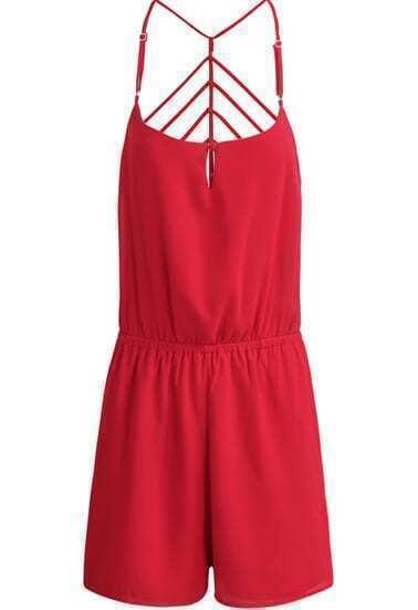 Red Spaghetti Strap Backless Chiffon Jumpsuit
