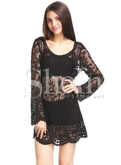Black Long Sleeve Embroidery Crochet Sheer Shift Dress