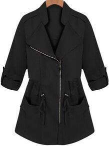 Black Long Sleeve Drawstring Pockets Coat