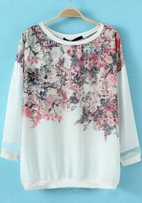 White Round Neck Floral Loose Blouse