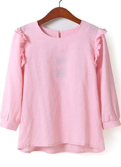 Pink Long Sleeve Ruffle Loose Blouse