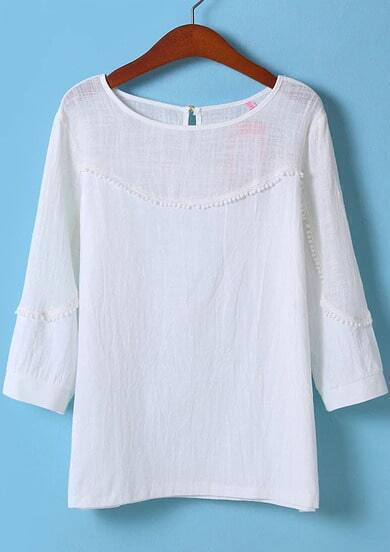 White Long Sleeve Floral Crochet Loose Blouse