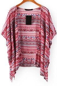 Red Short Sleeve Tribal Print Blouse