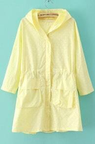 Yellow Hooded Half Sleeve Polka Dot Trench Coat