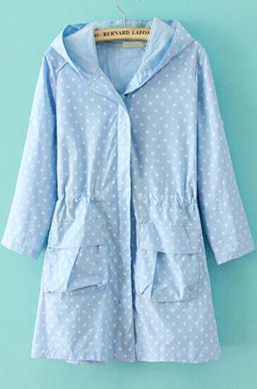 Blue Hooded Half Sleeve Polka Dot Trench Coat